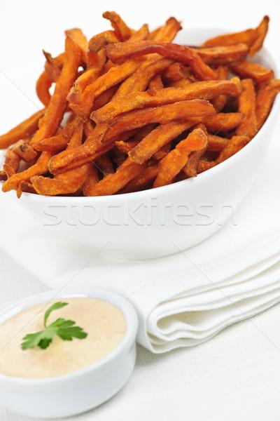 Patata dolce patatine salsa ciotola sfondo vegetali Foto d'archivio © elenaphoto