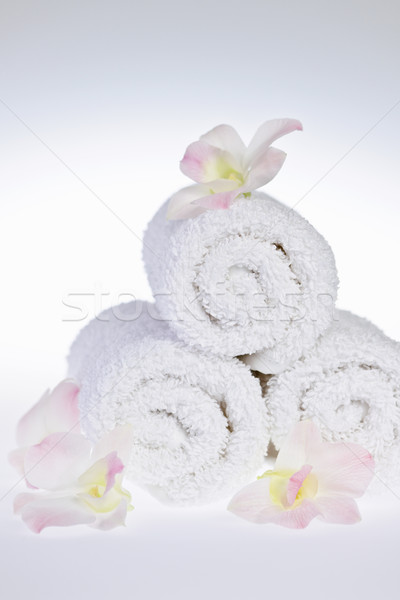 White rolled up spa towels Stock photo © elenaphoto