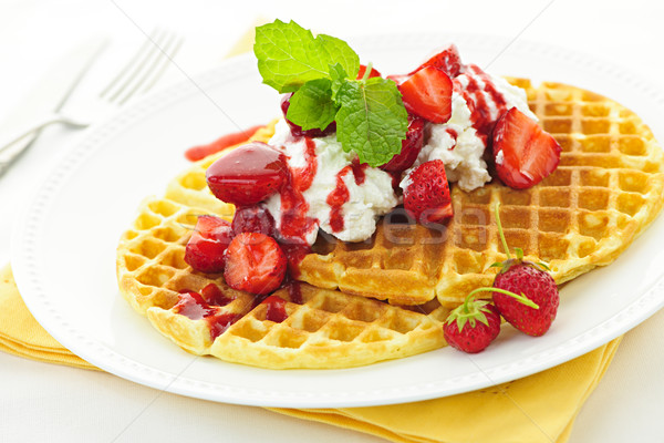 Belgian waffles Stock photo © elenaphoto