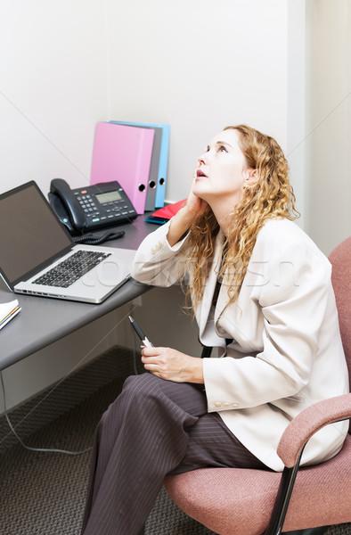 Iş kadını endişeli işkadını ofis İş İstasyonu Stok fotoğraf © elenaphoto