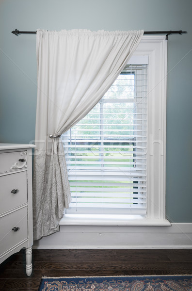 Stock photo: Window with blinds and curtain