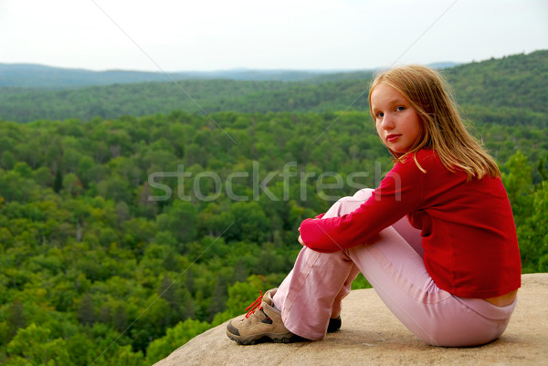 Girl edge cliff Stock photo © elenaphoto