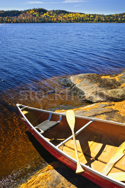 Canoe on shore Stock photo © elenaphoto