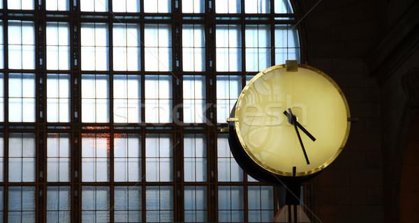 Clock train station Stock photo © elenaphoto