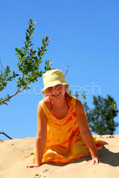Girl beach Stock photo © elenaphoto