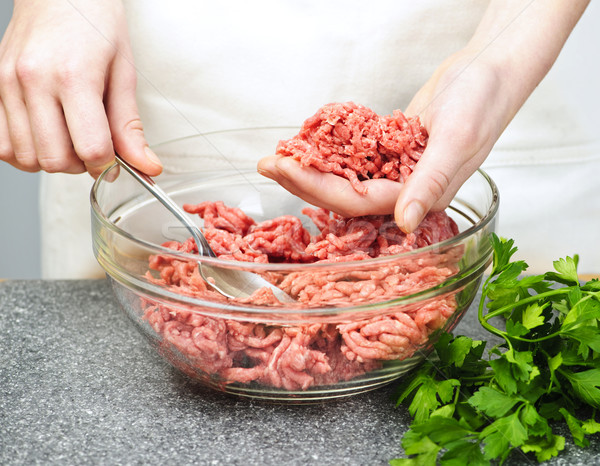 Cooking with ground beef Stock photo © elenaphoto