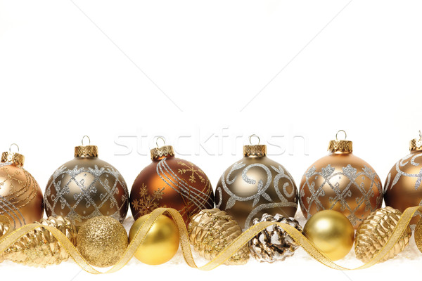 Gouden christmas ornamenten grens decoraties goud Stockfoto © elenaphoto