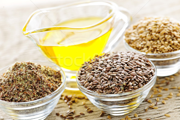 Flax seeds and linseed oil Stock photo © elenaphoto