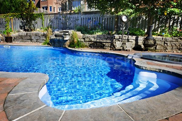 Stockfoto: Zwembad · waterval · woon- · hot · tub · zwembad