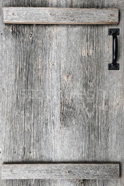 öreg csőr fa ajtó rusztikus fogantyú Stock fotó © elenaphoto