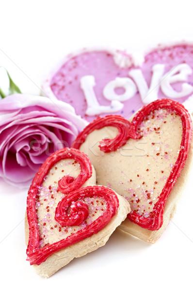 Walentynki cookie wzrosła domowej roboty walentynki Zdjęcia stock © elenaphoto