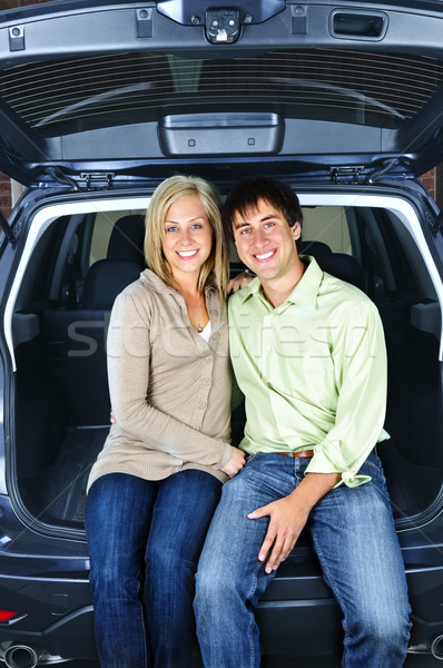 Couple sitting in back of car Stock photo © elenaphoto