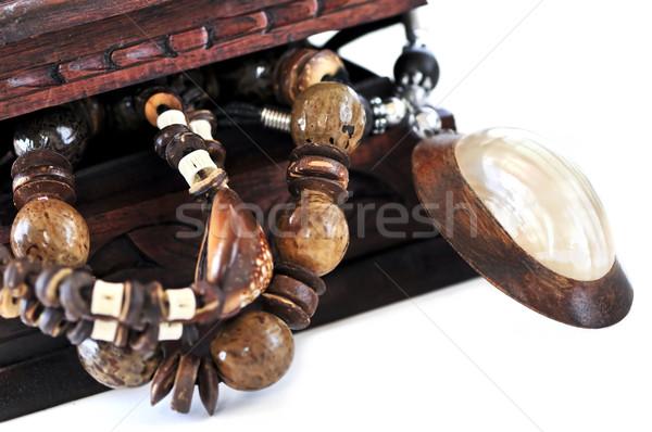 Fából készült ékszerek doboz gyönyörű kézzel készített őslakos Stock fotó © elenaphoto