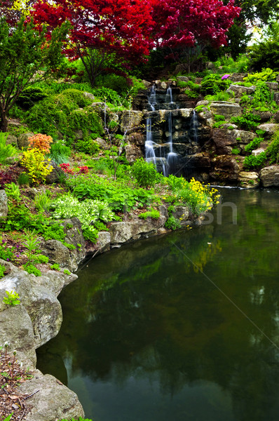 Stock photo: Cascading waterfall and pond