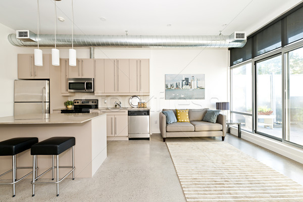 Modern condo kitchen and living room Stock photo © elenaphoto