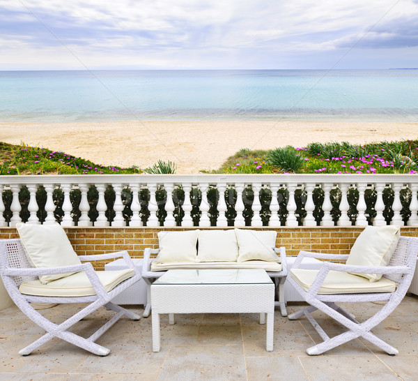 Veranda plaj görmek beyaz mobilya Stok fotoğraf © elenaphoto