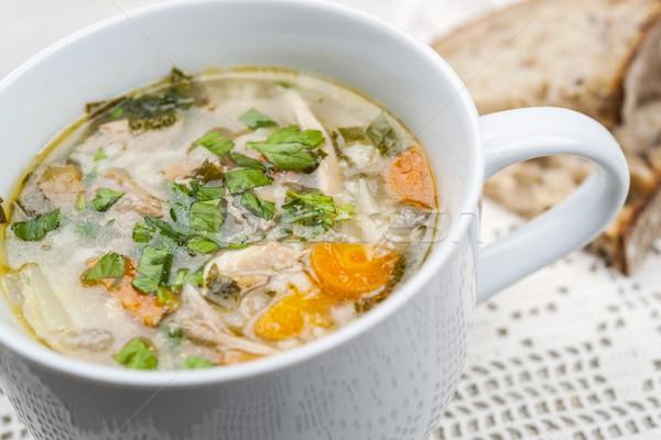 Stok fotoğraf: Fincan · tavuk · çorba · sıcak · pirinç · hizmet