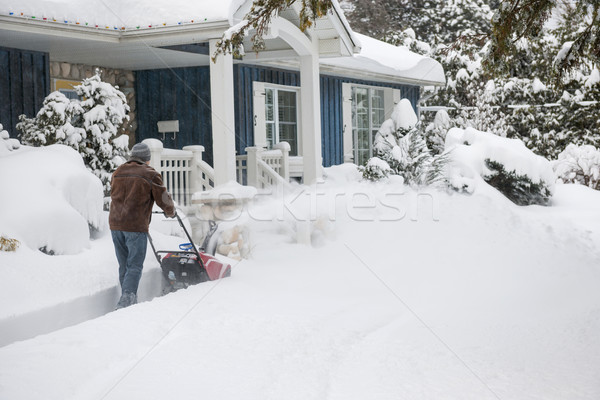 Man using snowblower in deep snow Stock photo © elenaphoto