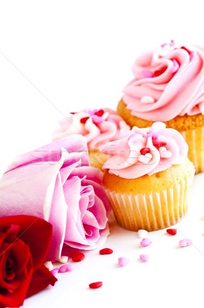 Stockfoto: Bloemen · valentijnsdag · rozen · roze · icing