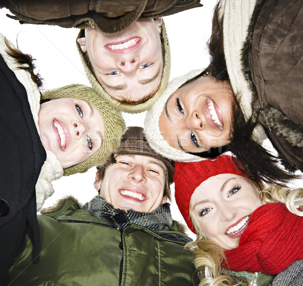 Group of friends outside in winter Stock photo © elenaphoto
