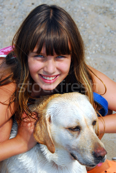 Girl dog portrait Stock photo © elenaphoto