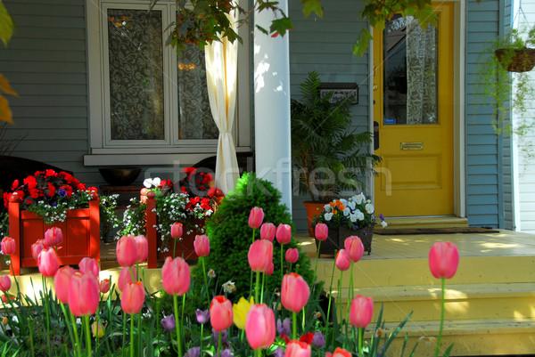 Casa varanda flores mobiliário flor Foto stock © elenaphoto