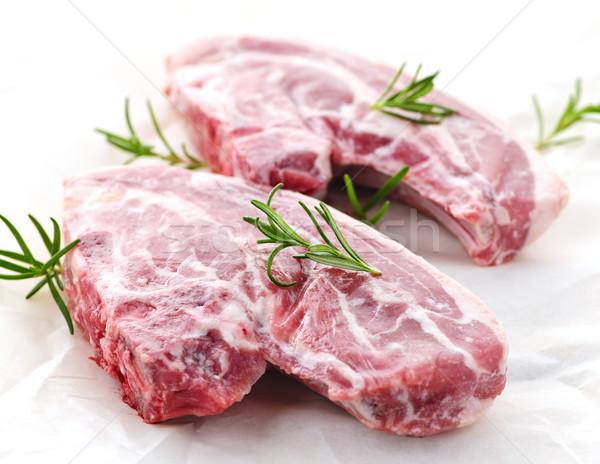 Nyers bárány kettő friss rozmaring gyógynövény Stock fotó © elenaphoto
