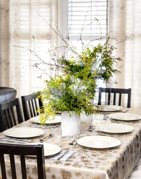Ingericht christmas eettafel acht plaats Stockfoto © elenaphoto