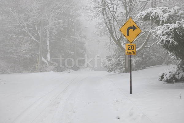 Right turn warning sign on winter road Stock photo © elenaphoto