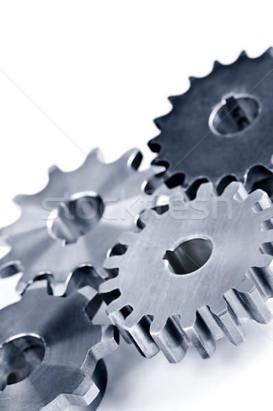 Foto stock: Engrenagens · industrial · metal · isolado · branco · tecnologia