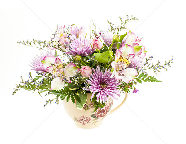 Flower arrangement on white Stock photo © elenaphoto