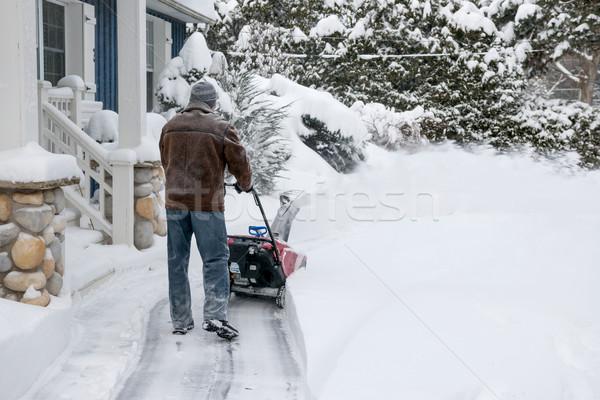 Man using snowblower in deep snow Stock photo © elenaphoto