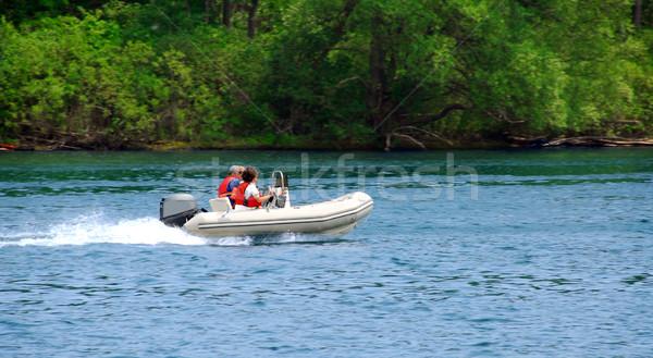 ボート遊び 川 カップル 運転 インフレータブル ボート ストックフォト © elenaphoto