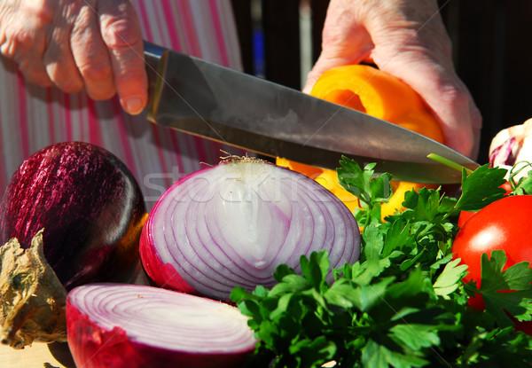 Cutting vegetables Stock photo © elenaphoto