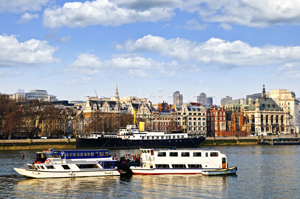 London skyline from Thames river Stock photo © elenaphoto