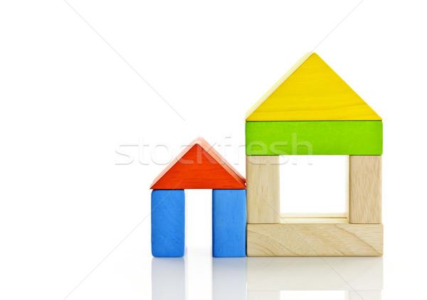 Wooden blocks houses Stock photo © elenaphoto