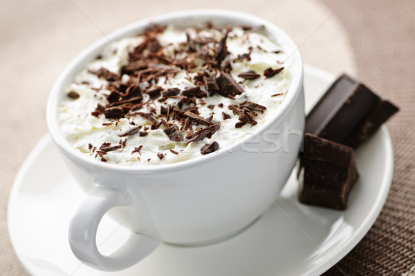 Foto stock: Chocolate · quente · copo · quente · chocolate · chantilly · comida