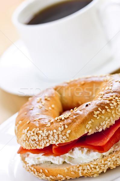 Gerookte zalm koffie licht maaltijd voedsel Stockfoto © elenaphoto