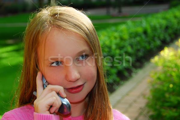 Girl phone Stock photo © elenaphoto