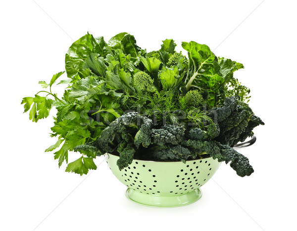 Stock photo: Dark green leafy vegetables in colander