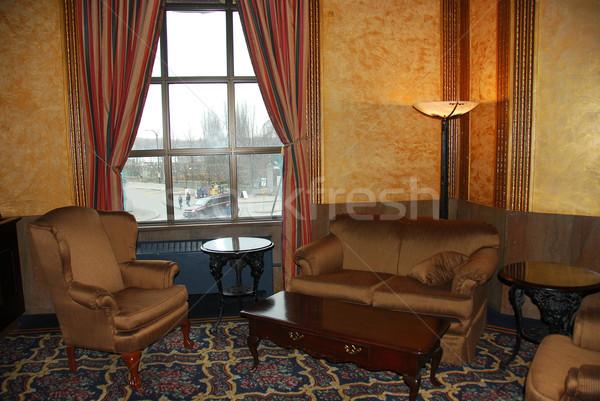Hotel lobby wnętrza okno tabeli krzesło Zdjęcia stock © elenaphoto