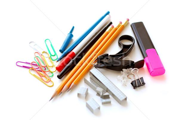 Iskola irodaszerek fehér üzlet papír toll Stock fotó © elenaphoto