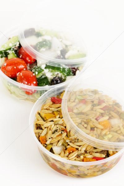 Preparado dos ensalada plástico pasta hortalizas Foto stock © elenaphoto