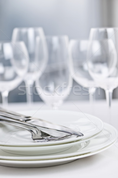 Plates and cutlery Stock photo © elenaphoto