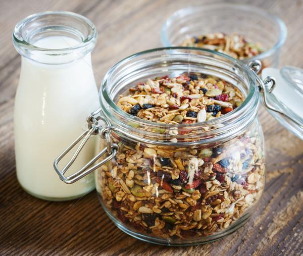 Glas jar melk Open draad Stockfoto © elenaphoto