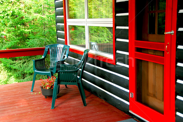 Log cabin deck Stock photo © elenaphoto