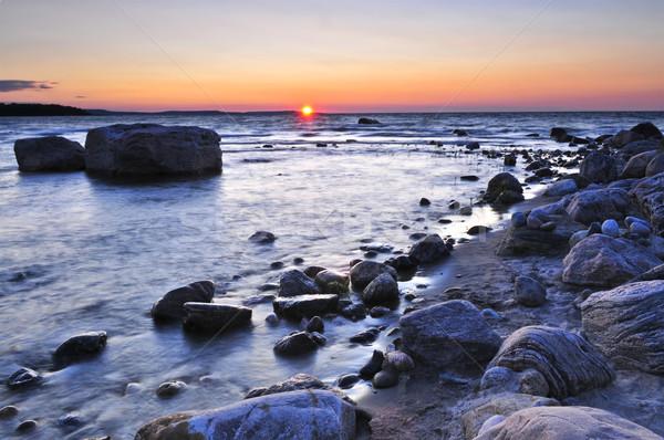 Naplemente víz part Kanada tenger szépség Stock fotó © elenaphoto