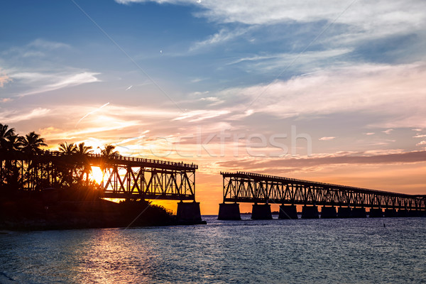 Stockfoto: Rail · brug · Florida · sleutels · zonsondergang