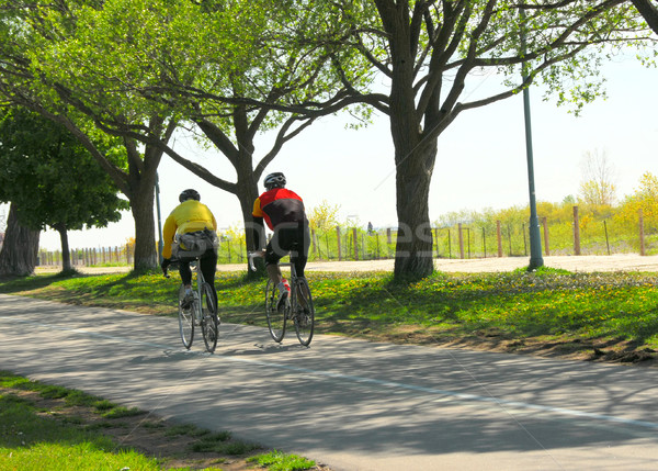 Stock photo: Bicycling in a park