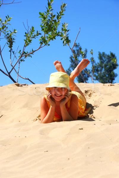 Stok fotoğraf: Kız · plaj · genç · kız · üst · çocuklar